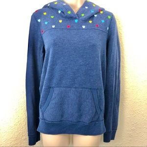 Pink hoodie blue sweatshirt style with hearts